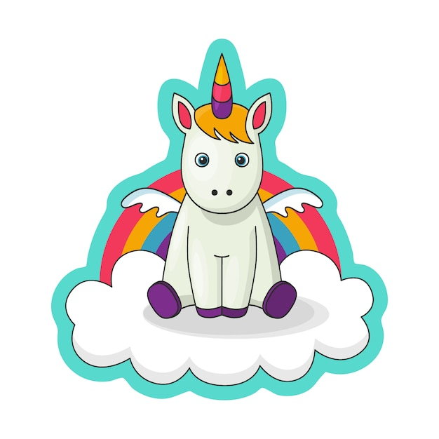 Sticker with a little baby unicorn with wings Premium Vector