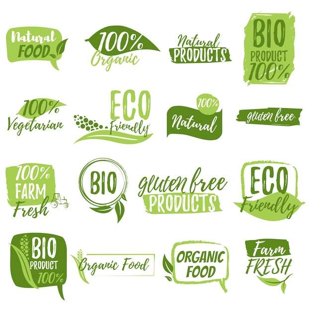 Stickers and badges for organic food and drink Premium Vector