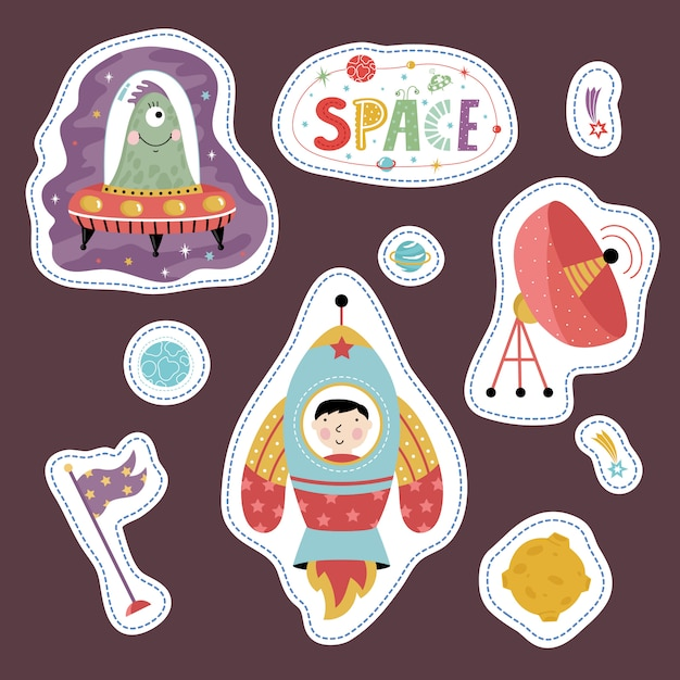 Stickers collection with space cartoons Premium Vector
