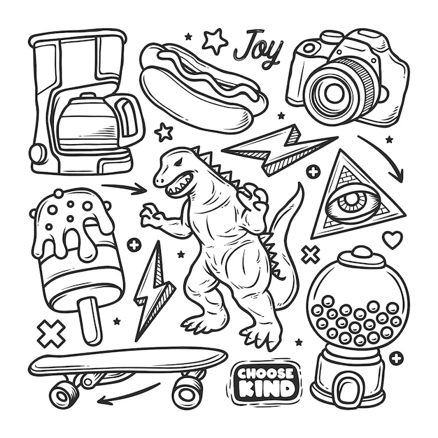 Stickers hand drawn doodle Premium Vector