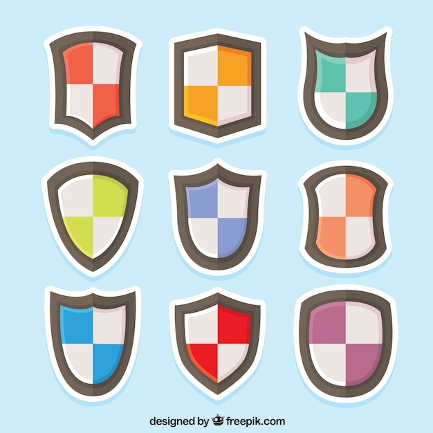 Stickers of colored shields collection