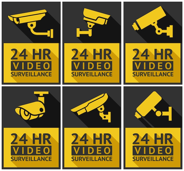 Stickers security camera set Premium Vector