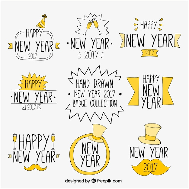 Stickers set of hand drawn new year Free Vector