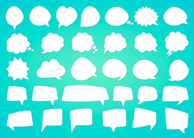 Stickers of speech bubbles with shadow set on color. Premium Vector
