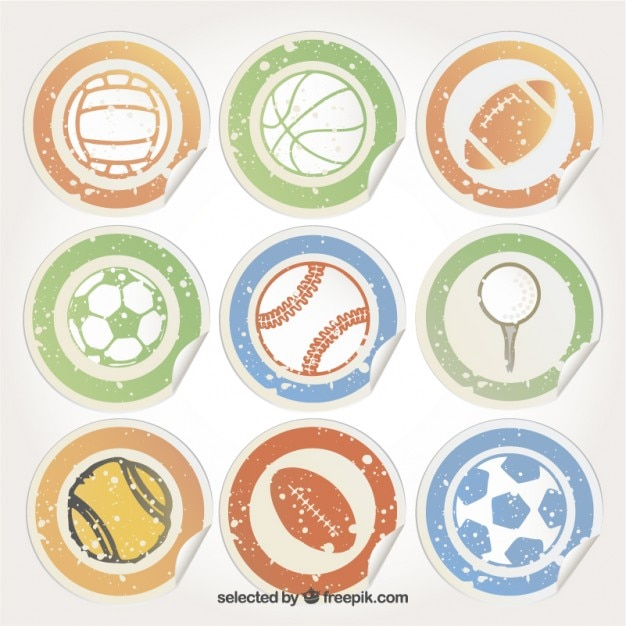 Stickers with sport balls