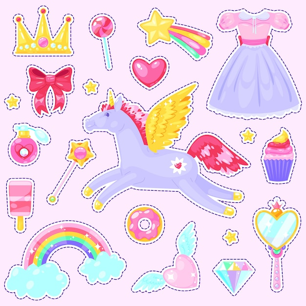 Stickers with unicorn Premium Vector