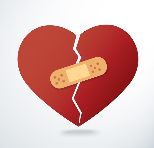 Sticking plaster on broken heart icon vector Premium Vector