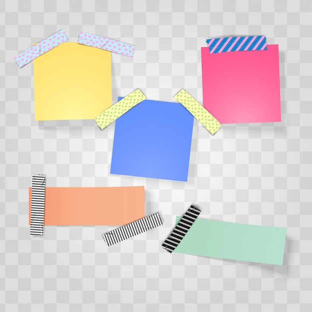 Sticky note and washi tape realistic Premium Vector