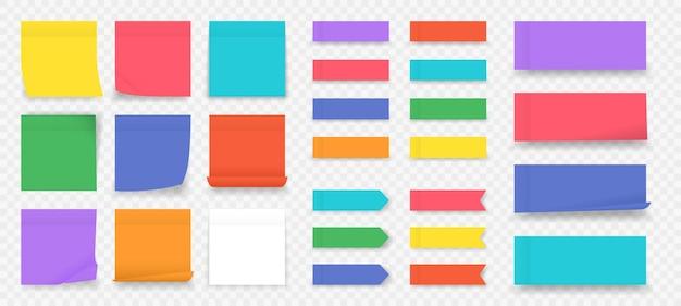 Заметки. бумага цветные квадратные изолированные напоминания, пустая страница блокнота. Premium векторы