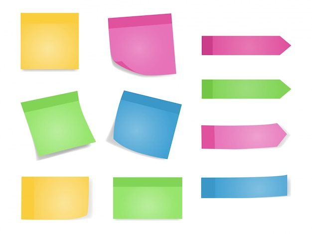 Sticky notes set of color sheets of note papers Premium Vector