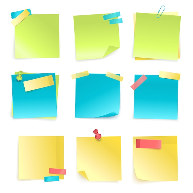 Sticky notes set Free Vector