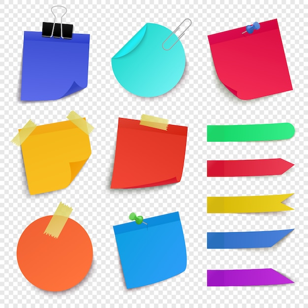 Sticky paper notes. notepaper sheet, paper memo colorful stickers, sticky business post it pin note   illustration icons set. sticker reminder, stick blank remember Premium Vector