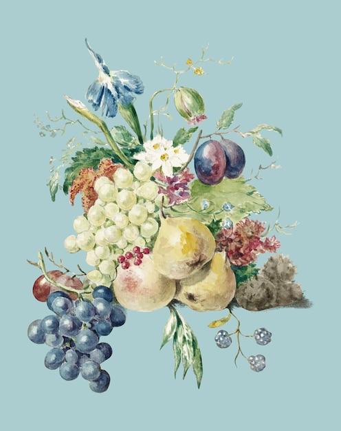 Натюрморт с цветами и фруктами жана бернарда (1775-1883). Бесплатные векторы