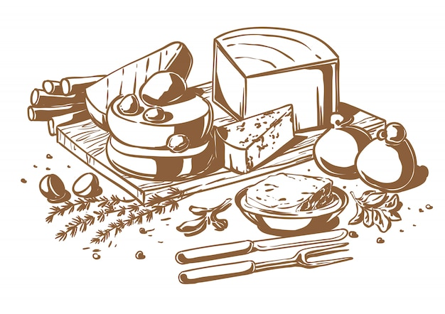 Still life of a set of cheeses Premium Vector