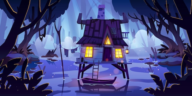 Stilt house in swamp with boat at night Free Vector