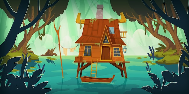 Stilt house in swamp with boat Free Vector