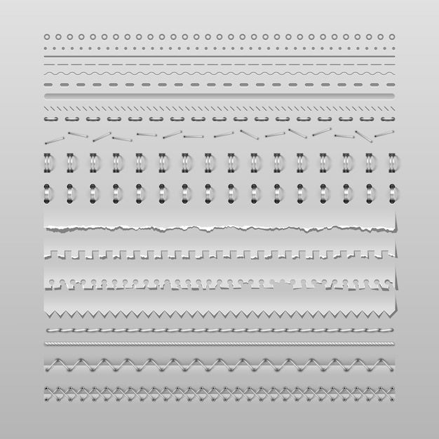 Stitches and dividers Premium Vector