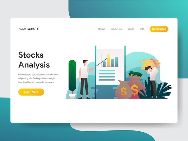 Stock analysis for web page Premium Vector