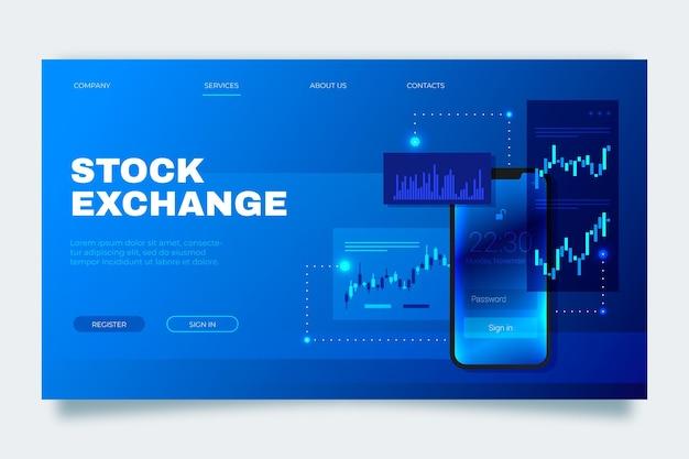 証券取引所アプリケーションのランディングページテンプレート Premiumベクター