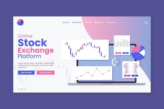 Целевая страница приложения фондовой биржи Premium векторы