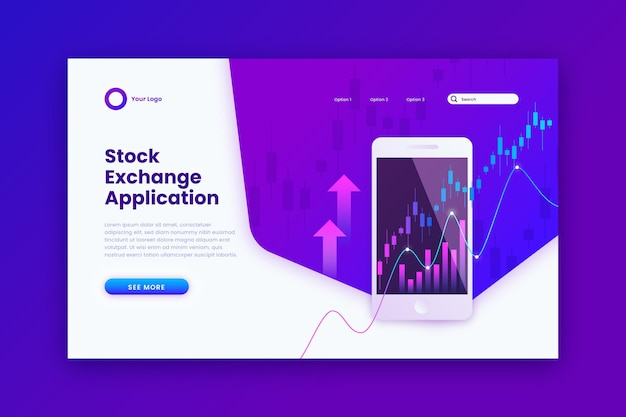 Stock exchange application landing page Free Vector