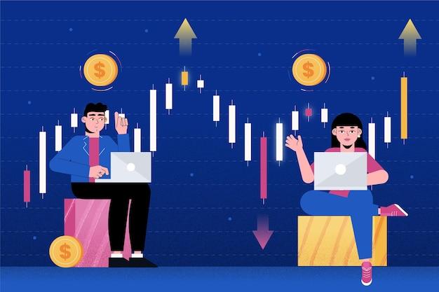 証券取引所のデータテーマ 無料ベクター