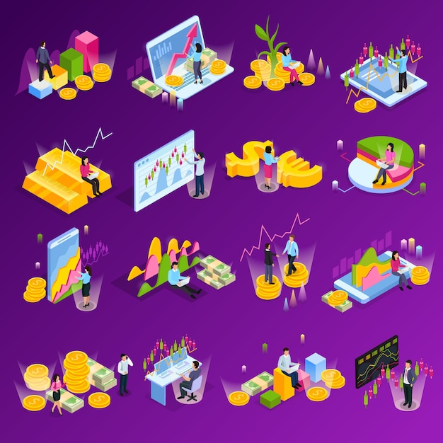 Stock exchange isometric icon set with different graphs charts finance elements technology in commerce illustration Free Vector