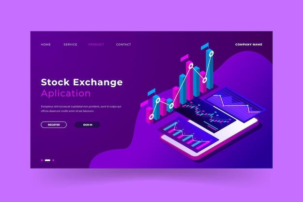 Stock exchange landing page Free Vector