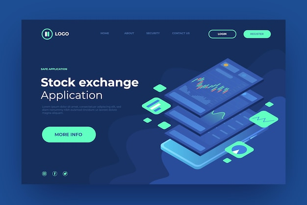 Stock exchange platform landing page template Free Vector