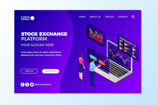 Stock exchange platform landing page Free Vector