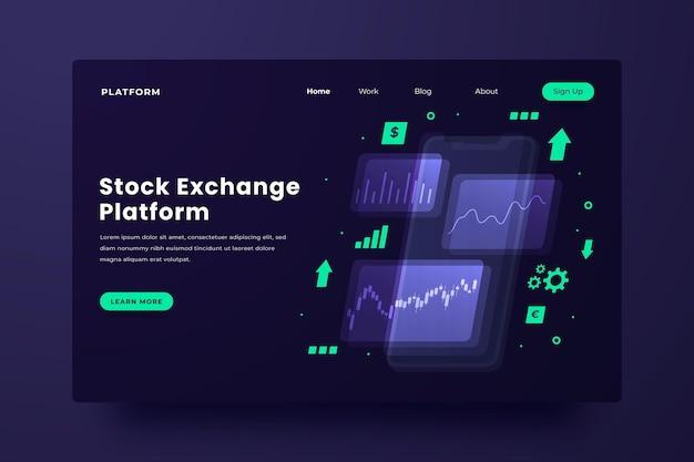 Целевая страница платформы биржи Premium векторы