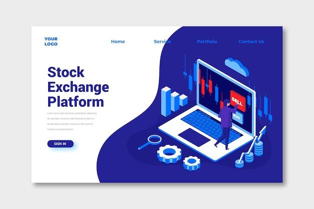 Pagina di destinazione della piattaforma di borsa Vettore gratuito