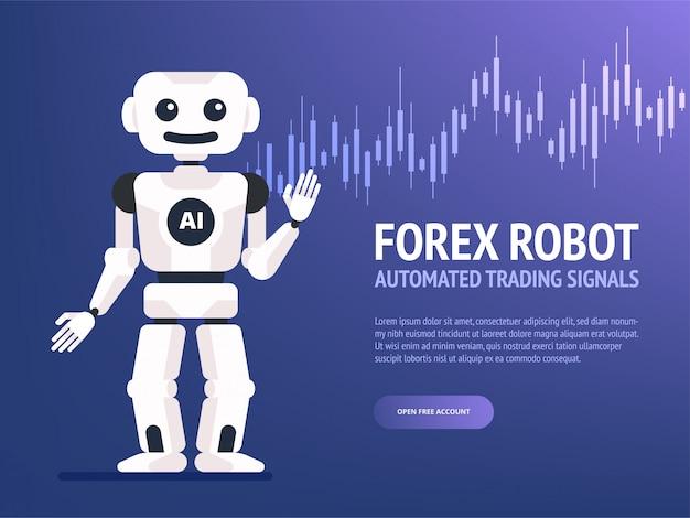 Stock exchange trading robot banner Premium Vector