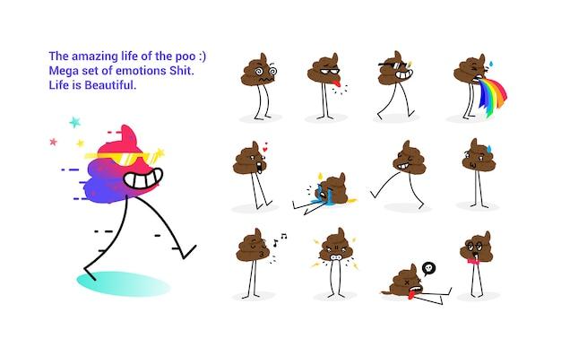 Stock illustration shit. a set of goat emotions. vector illustration. Premium Vector