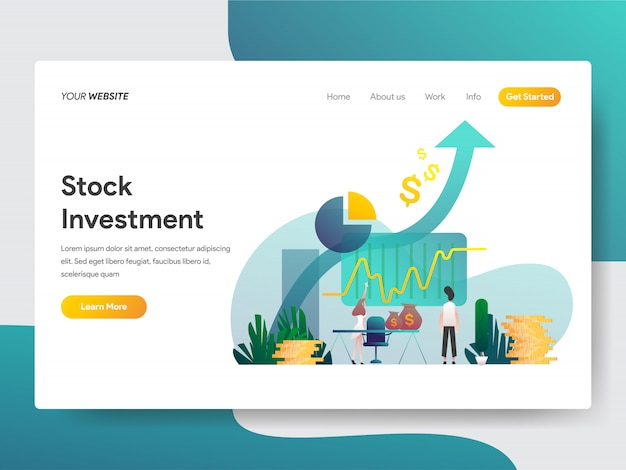Stock investment for web page Premium Vector