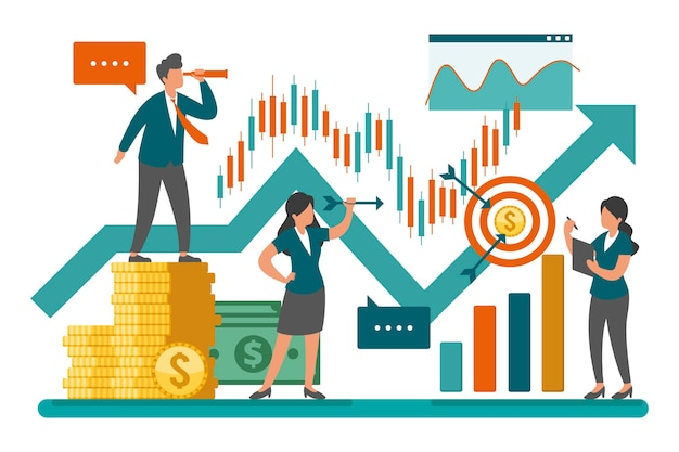 Stock market analysis concept Free Vector
