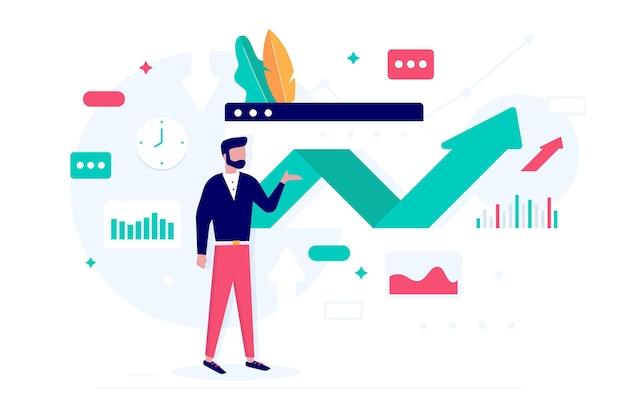 Stock market analysis concept Free Vector