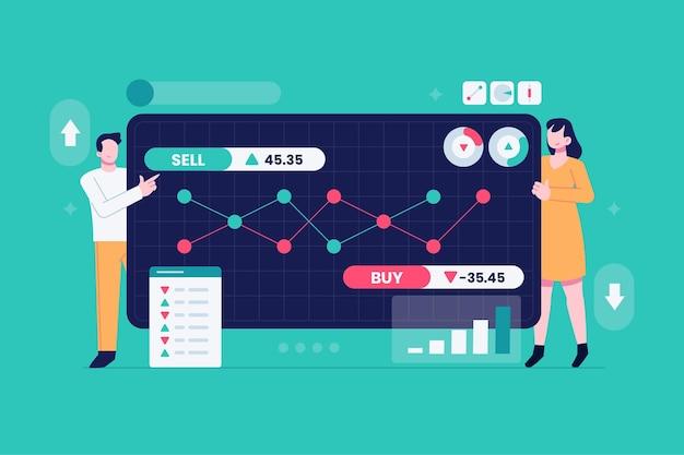 Stock market analysis concept Premium Vector