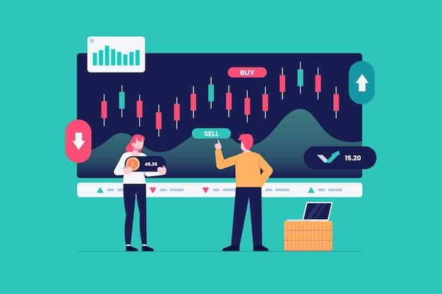 株式市場分析の概念 無料ベクター
