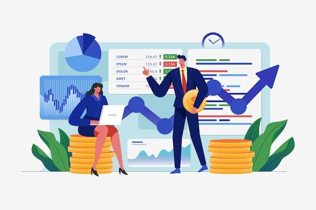 Концепция анализа фондового рынка Бесплатные векторы
