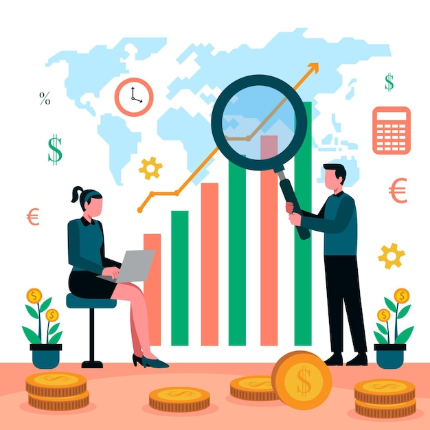 Stock market analysis illustration with people Free Vector