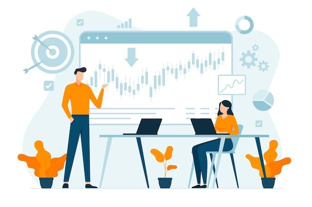 Stock market analysis illustration Free Vector