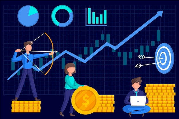 Stock market analysis with chart Free Vector