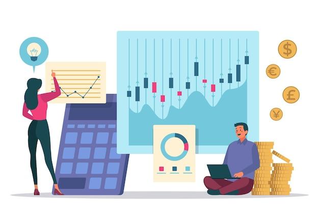 Анализ фондового рынка Бесплатные векторы