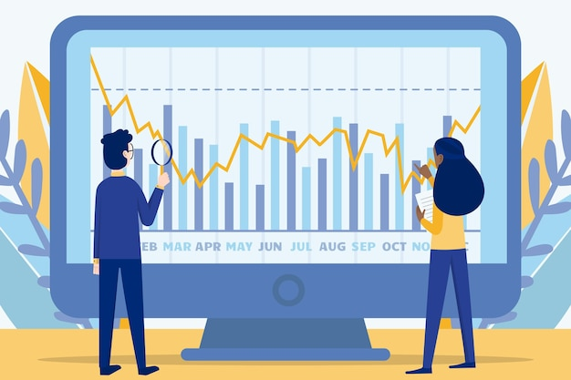 Stock market analysis Free Vector