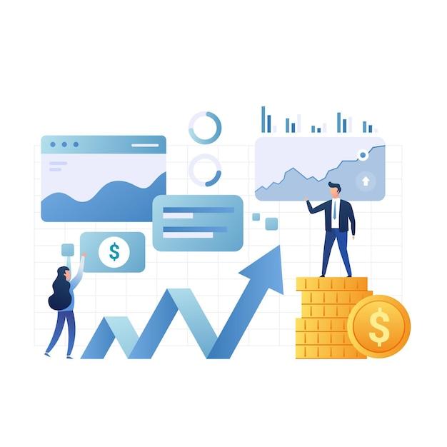 Анализ фондового рынка Premium векторы