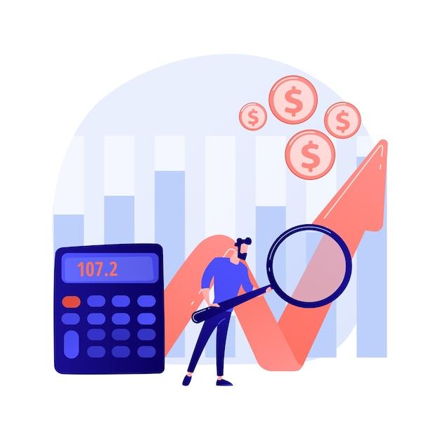 株式市場分析。経済調査、ビジネストレンド調査、企業および企業のコスト評価。市場統計を研究している株式仲買人。 無料ベクター