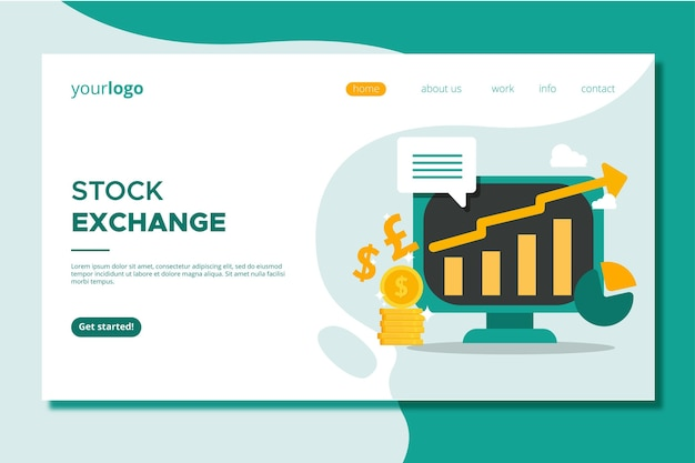 Stock market application landing page Free Vector