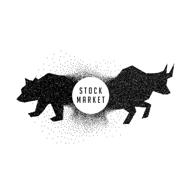 stock market concept design showing bull and bear Free Vector