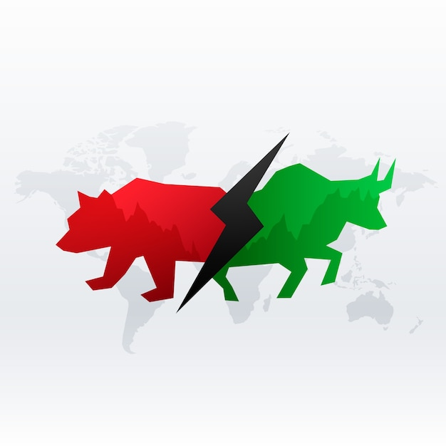 Stock market concept with bull and bear Free Vector